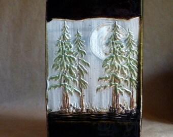Tall Pines, hand built Stoneware Pot, Art Pottery