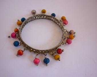 Vintage Ethnic Boho Bangle Bracelet INDIA Filigree w Beads Rainbow Multi CHA CHA
