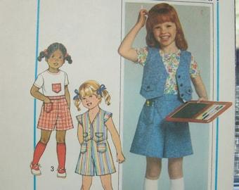 70's Simplicity 8042 Girl's Skort Pattern SALE Pantskirt Girls Top and Vest Size 5/6 Girl's Summer Outfit Retro 70's Blouse, Pattern Destash