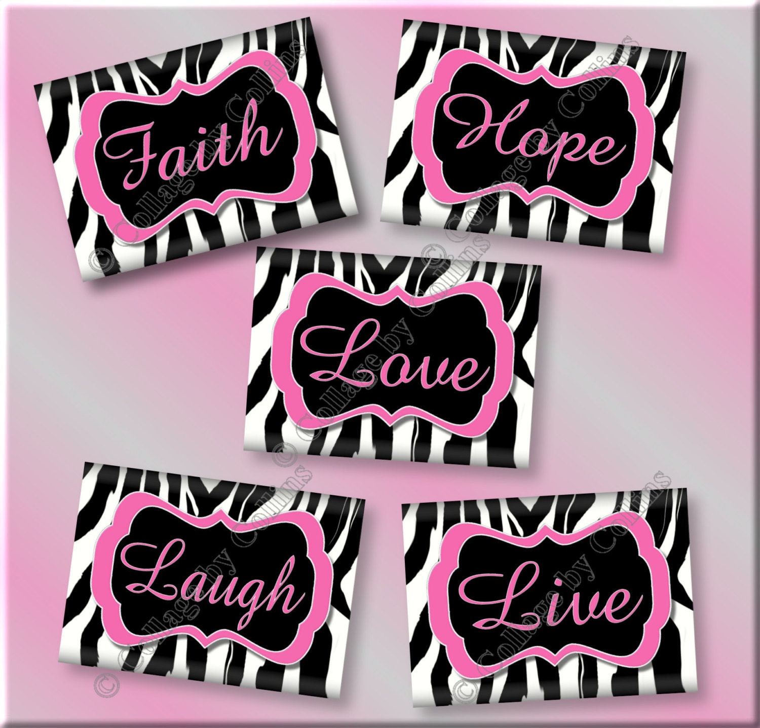 Pink zebra print art girls room wall decor faith hope live for Room decor zebra print