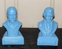 Famous Composers Bust Statue Blue Musicians Tchaikovsky Small Miniature Figurine