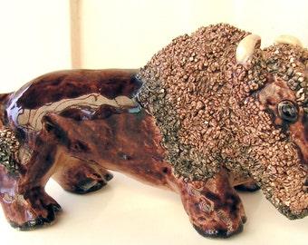 Vintage Sewer Tile Coleslaw Mane Hand Modeled BUFFALO Folk Art Pottery Redware Figurine Lunch Hour