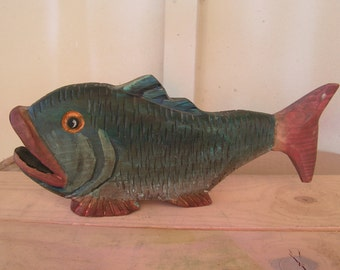 Fish Folk Art Wood Carving Hand Carved Wooden Fish Statue Sculpture Rustic Primitive Cabin Decor Decoy