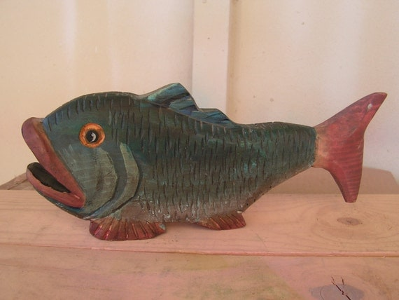 Fish folk art wood carving hand carved wooden statue