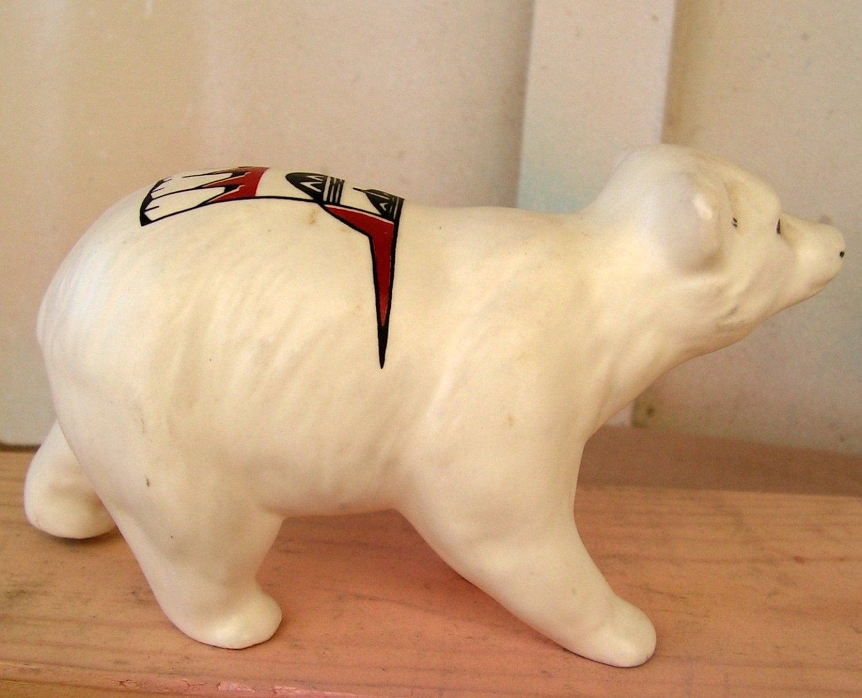 Ceramic Polar Bear Native American Indian Tribal Figurine