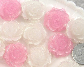 Flower Resin Cabochons - 22mm Pink and White Shimmer Roses Resin Cabochons - 6 pc set