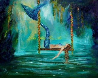 "Mermaid Art Print Mermaids Wall Art Mermaid Theme Fantasy Art Print Lagoon Serene Calming ""Mermaids Lazy Lagoon"" Leslie Allen Fine Art"