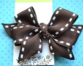 All Stitched Up...Big Stitches....Classic Diva Bow in Brown