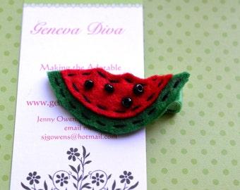 Watermelon Slice Hand-Stitched Felt Hairclip