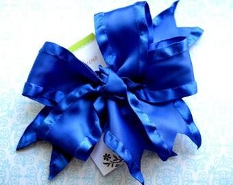 Royal Blue Double Ruffle XL Diva Bow