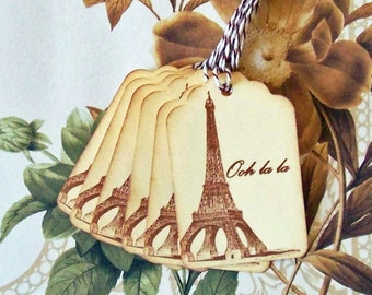 Eiffel Tower Tags Vintage Style Wedding Wish Tree Party Favor Treat Bag Tags T034