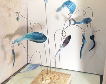 Flying fish glass mobile