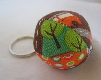 Mini Jingle Ball Keychain in Riley Blake's Wheels Fabric