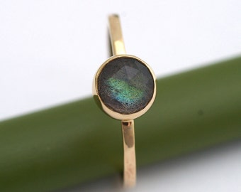 Rose Cut Labradorite Bloom In Gold - Modern Stacking Ring