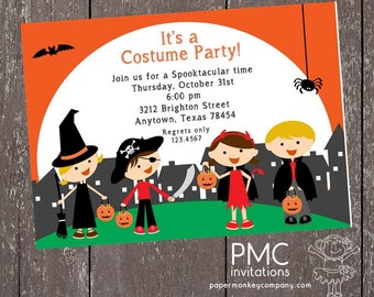 Childrens Halloween Trick or Treat Invitation - 1.00 each with envelope