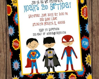 Superboys Birthday Invitations ... 1.00 each with envelope