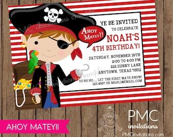 Custom Pirate Birthday Invitations - 1.00 each with envelope