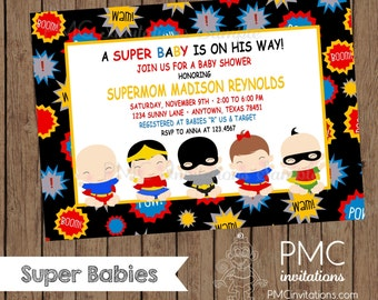 Custom Printed Superbabies Baby Shower Invitations - 1.00 each with envelopes