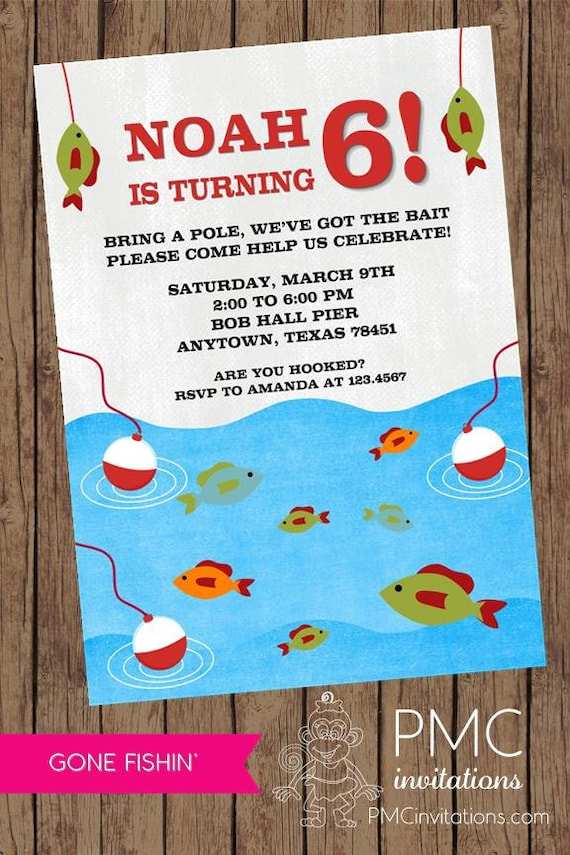 gone fishing birthday invitations each with envelope