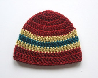 Clearance Sale -  Crocheted Striped Baby Boy Hat - Dark Red, Teal and Gold Baby Boy Cap - Size 0 to 3 months