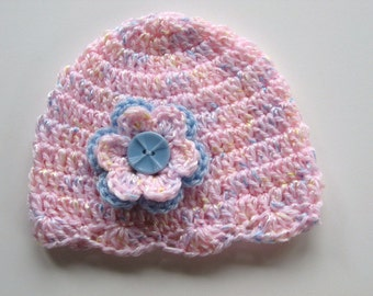 Ready To Ship Crocheted Pink Baby Girl Hat - Pink Crocheted Baby Cap With Flower - Size 0 to 3 Months