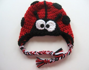 Ready To Ship - Crocheted Red and Black Ladybug Earflap Baby Hat - Size 6 to 12 Months - Lady Bug Photo Prop Hat - Lady Bug Halloween Hat