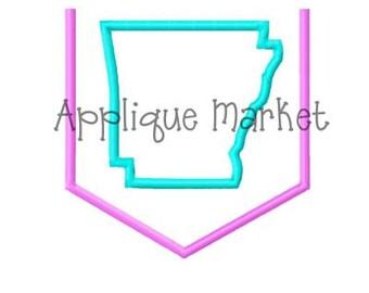 Machine Embroidery Design Applique Appli-Pocket 1 Arkansas INSTANT DOWNLOAD