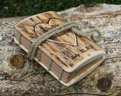 Rustic wood journal personalised with heart and names Coptic stitch