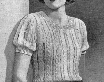 1937 Mock Cable Top Vintage Knitting Pattern 310