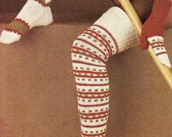 Fair Isle Legwarmers, socks, mitts Knitting Pattern 401