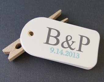 Ampersand Initials Personalized Wedding Favor Tags (Qty. 12)