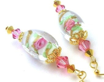 White and pink earrings, gold, floral lampwork glass, Swarovski crystal, Blooming Garden