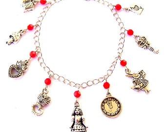 Alice in Wonderland bracelet, Cheshire cat, crowned heart, White Rabbit, key, Ace, book, key, mushroom, clock charms, fairy tale jewelry