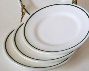 Vintage Anchor Hocking Milkglass Green Stripe 4 Small Plates Anchorware Restaurant Ware Dessert Bread Butter Milk Glass