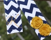 DSLR Camera Strap Cover- lens cap pocket and padding included- Shabby Chic Monogrammed Navy Chevron