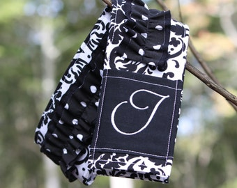 Monogrammed Ruffled Camera Strap Cover - Black is New Black/ White