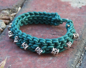 Handmade Knitted Leather Bracelet - Teal Leather, Bali Silver Beads