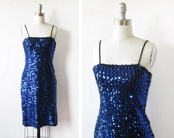 blue sequin dress, vintage 80s sequin wiggle dress, xs 1980s party dress