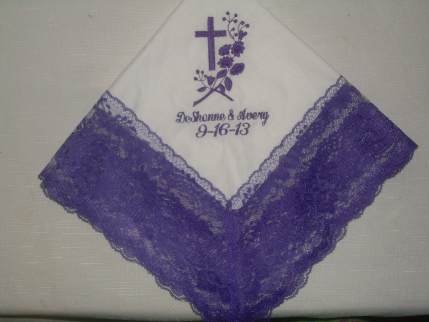 Custom Personalized Handkerchief Brides Something Blue Wedding