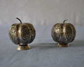 Sterling Silver Miniature Pumpkins Antique Salt and Pepper Shakers
