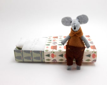 Hand made dolls felt toy kit small stuffed animals miniature mouse mint gray dots mouse in matchbox plushie mouse sleeping  with bed
