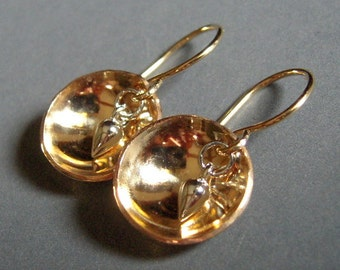 Gold Filled Earrings, 14/20 Gold Filled, Sterling Silver, Domed, Drop, Dangle, Hand Made