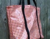 Oilcloth Bag - Stylish Orange Gingham and Black Strap Market Bag