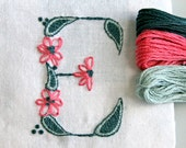 DIY pdf Crewel Embroidery Pattern Monogram E instant download teal  ring bearer pillow christening gown