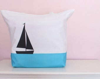 Designer Oversized Beach Bag, Sailboat,  Extra Large Tote