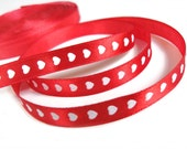 """Red Heart Satin Ribbon 3/8"""" - 3 yards red and white love ribbon gift packaging"""