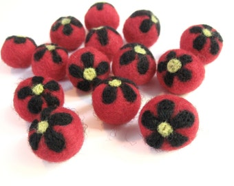 Red Felt Balls with Black Flower - 14 Pure Wool Beads 20mm -