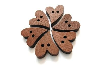 6 Heart Wooden Buttons - craft buttons 20mm  #BB096