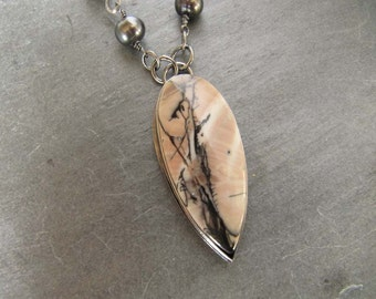 Necklace of Willow Creek Dendritic Jasper, Dark Pearls, and Sterling Silver
