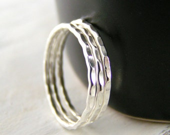 Silver Band, Stack Rings, Dash Textured Band, One Sterling Silver Stack Band Ring